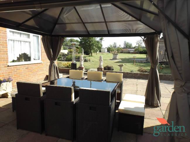 Gazebo luxury swanbourne x 3m fixed roof gazebo hot for Hot tub shelters
